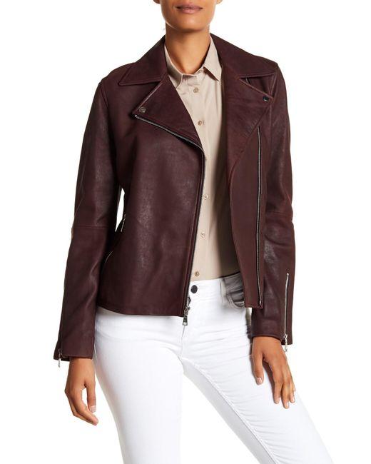 T Tahari - Purple Skylar Leather Jacket - Lyst