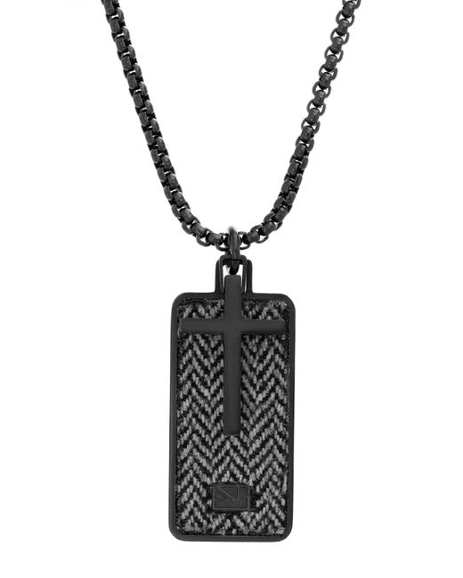 Ben Sherman Black Stainless Steel Cross Dog Tag Pendant Necklace for men