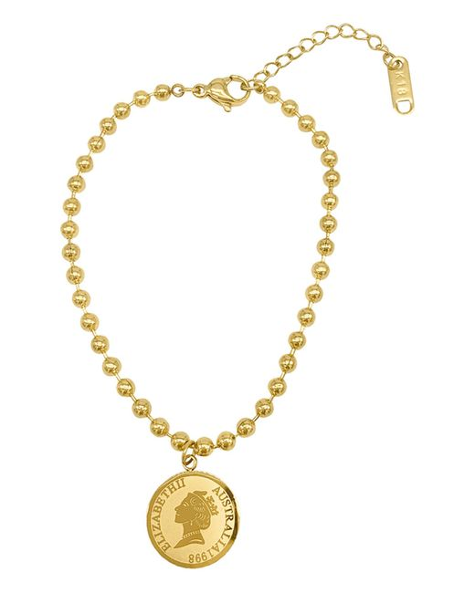 Adornia Coin Charm Beaded Bracelet In Yellow At Nordstrom Rack