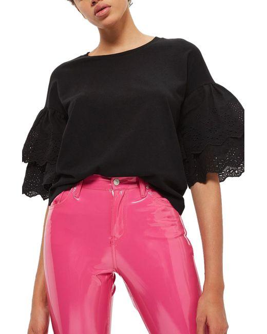 TOPSHOP - Black Eyelet Layer Sleeve Tee T-shirt - Lyst