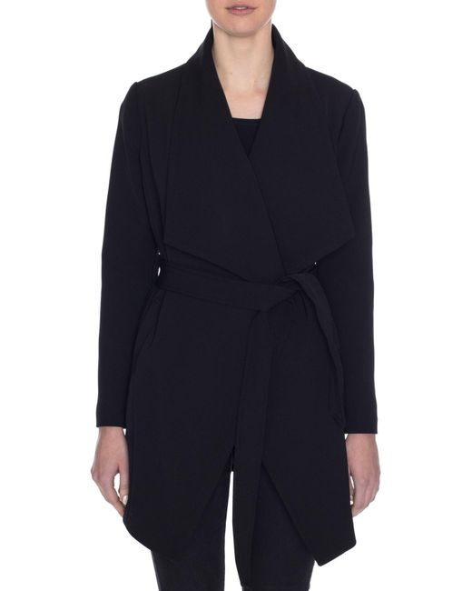 Tahari - Black Abbey Draped Collar Wrap Coat - Lyst