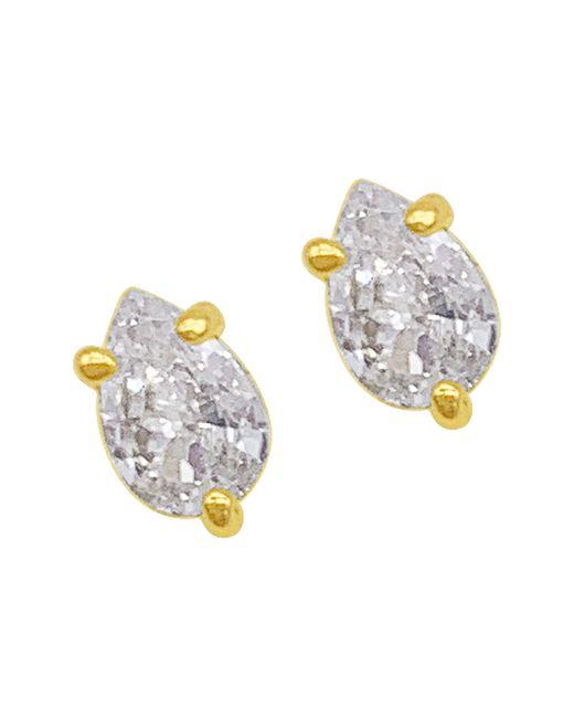Adornia 14k Yellow Gold Vermeil Pear Cut Crystal Stud Earrings At Nordstrom Rack