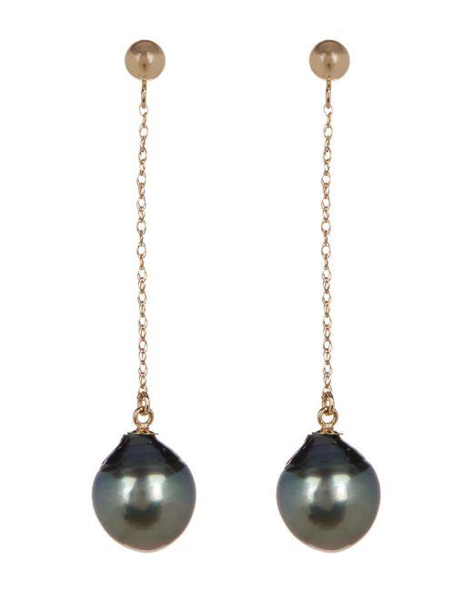 Splendid - Multicolor 14k Yellow Gold Natural Black 7-7.5mm Tahitian Pearl Drop Earrings - Lyst