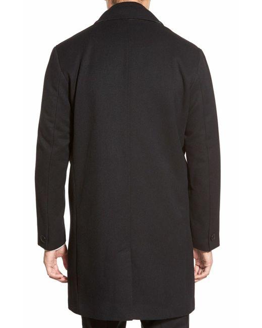 Cole Haan Genuine Leather Trim Wool Blend Jacket In Black