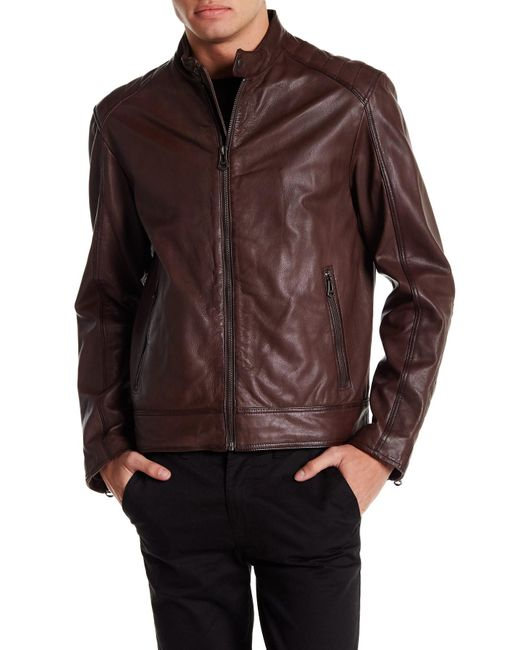 Cole Haan Washed Genuine Leather Fashion Moto Jacket In