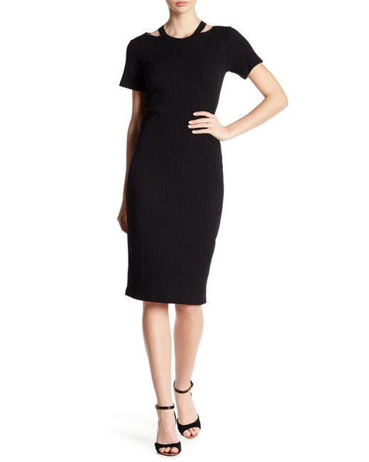 Nicole Miller - Black Riley Ribbed Cutout Shoulder Dress - Lyst