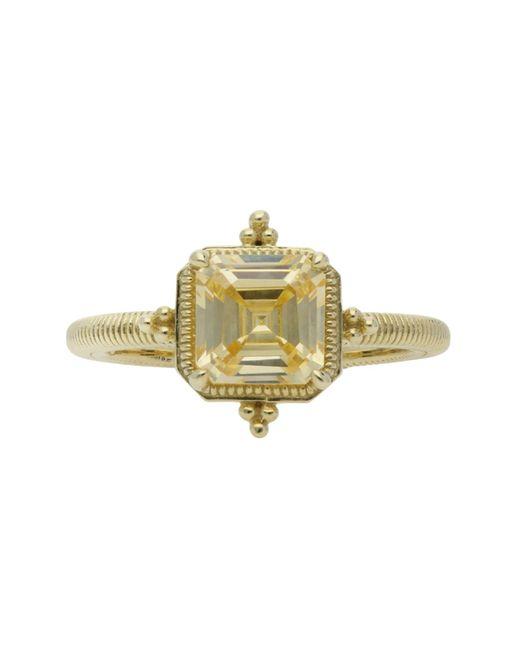 Judith Ripka Metallic Angelica Asscher Cut Bezel Set Canary Cz Ring - Size 7