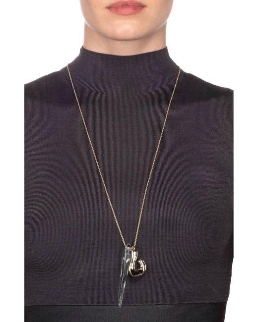 Alexis Bittar Metallic Two-tone Lucite Sculptural Pendant Necklace