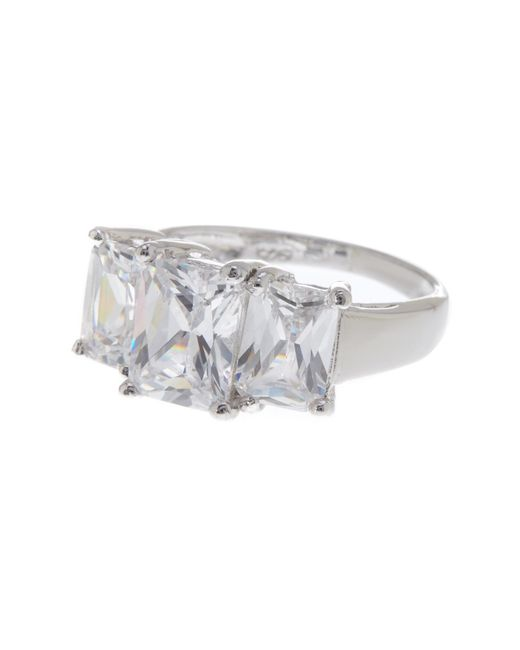 Argento Vivo | Metallic Sterling Silver 3-stone Princess Cut Ring (size 5) | Lyst