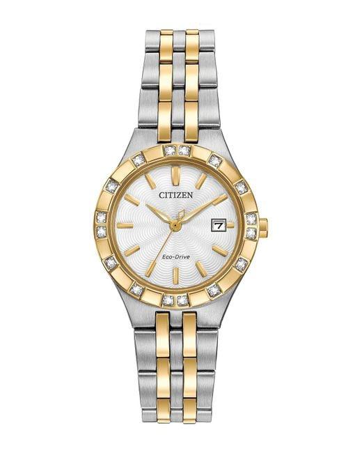Citizen Metallic Women's Eco-drive Two-tone Stainless Diamond Bracelet Watch - 0.0053 Ctw