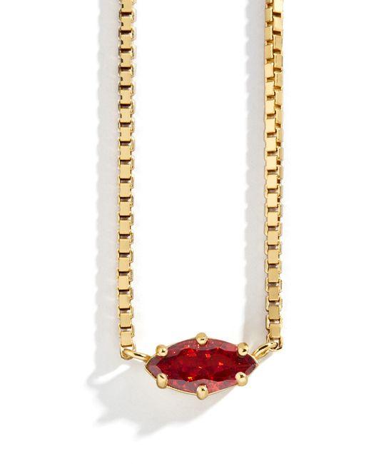 BaubleBar Red Nascita Gold Vermeil Birthstone Pendant Necklace