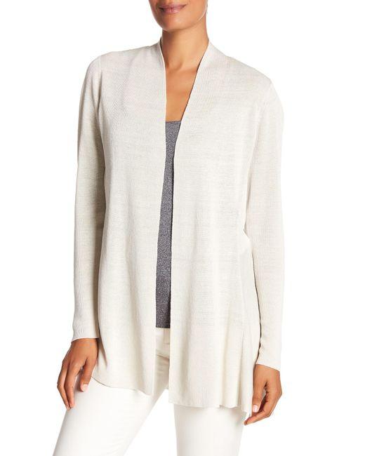 Eileen Fisher - White Fine Organic Linen Blend Cardigan - Lyst