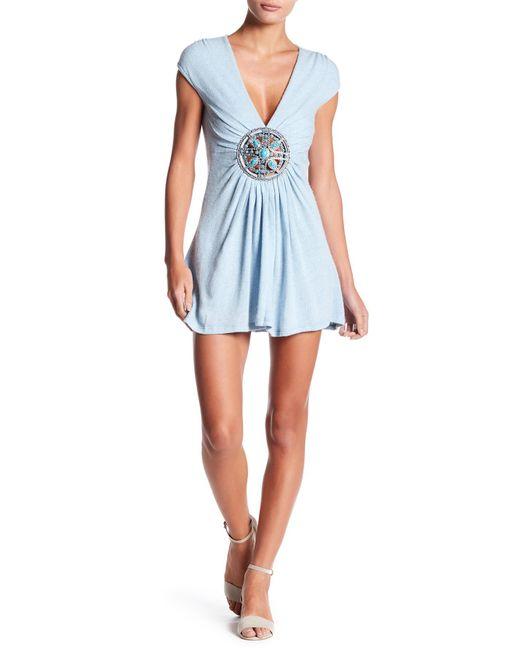 Sky - Blue V-neck Medallion Dress - Lyst