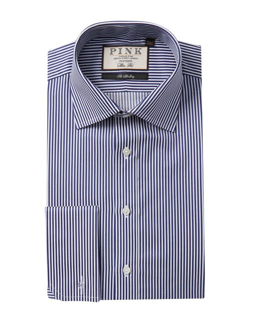 Thomas Pink Blue Grant Stripe Slim Fit Dress Shirt for men