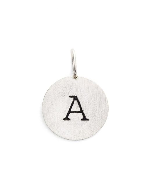 Argento Vivo - Metallic Sterling Silver 'a' Initial Disc Charm - Lyst