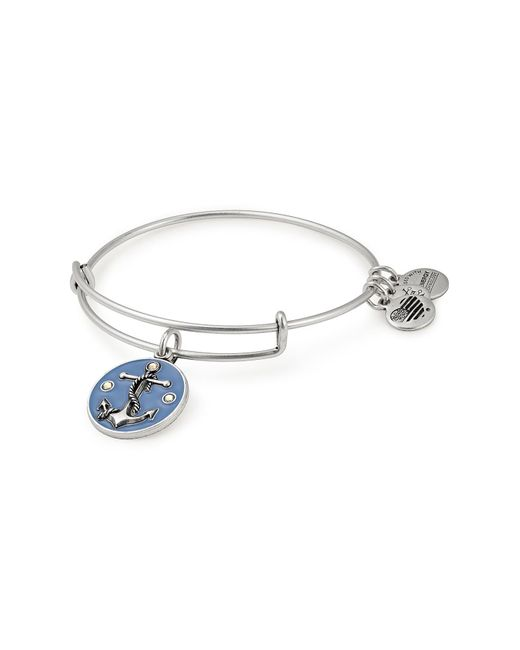 ALEX AND ANI - Blue Anchor Color Infusion Wire Adjustable Bracelet - Lyst