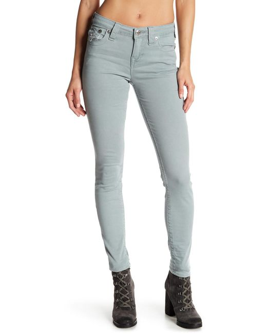 True Religion - Gray Mid-rise Super Skinny Jeans - Lyst