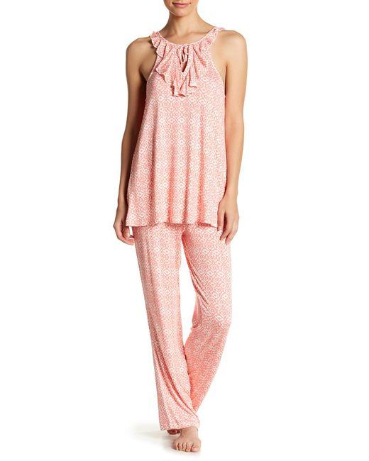 Catherine Malandrino - Pink Ruffle Jersey Tank & Pants Pj Set - Lyst