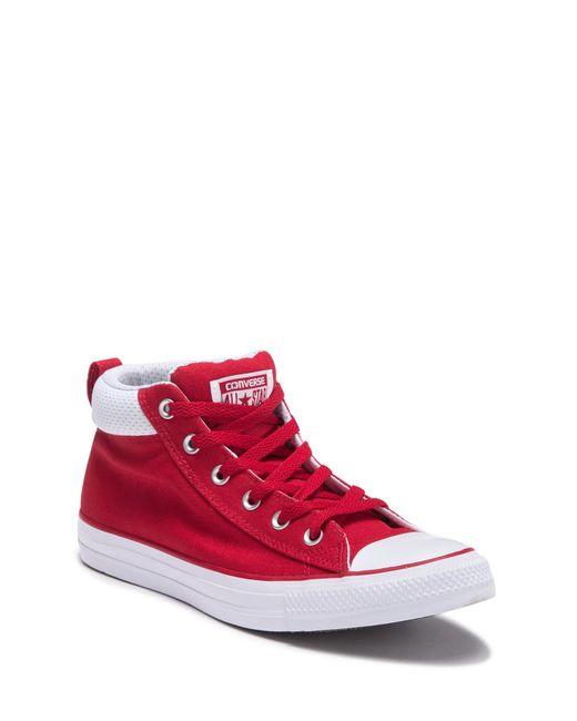 8bf1eddbcabb Converse - Red Chuck Taylor All Star Street High Top Sneaker (unisex) for  Men ...