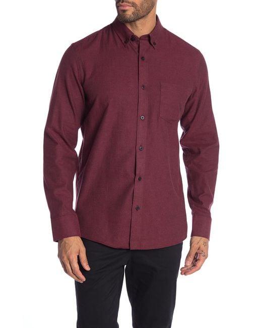 Nordstrom Red Slim Fit Brushed Twill Sport Shirt for men