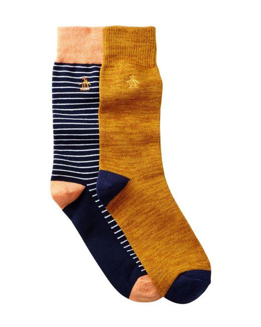 Original Penguin   Orange Balboa & Atrium Crew Socks - Pack Of 2 for Men   Lyst
