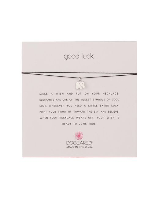 Dogeared - Metallic Good Luck Elephant Pendant Cord Necklace - Lyst