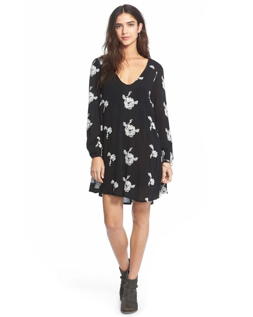 Free People - Black Emma Embroidered Swing Dress - Lyst