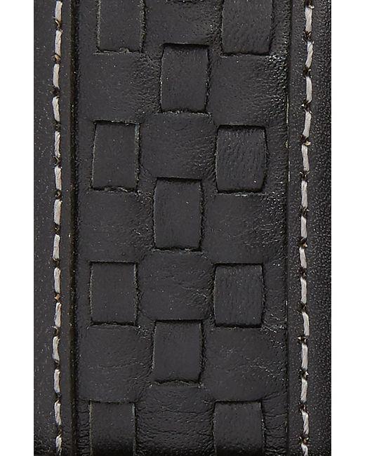 Johnston & Murphy Black Woven Calfskin Leather Belt for men