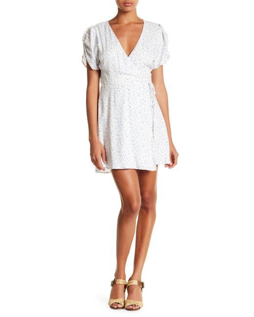Lush - White Star Print Wrap Dress - Lyst