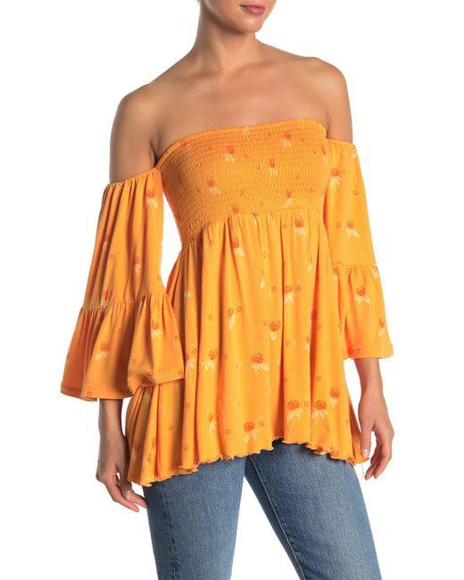 Free People - Orange Lana Patterned Off-the-shoulder Top - Lyst