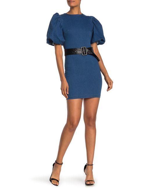 Jealous Tomato Blue Bubble Sleeve Belted Denim Mini Dress