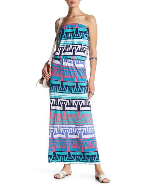 Tori Richard | Blue Erin Strapless Print Maxi Dress | Lyst