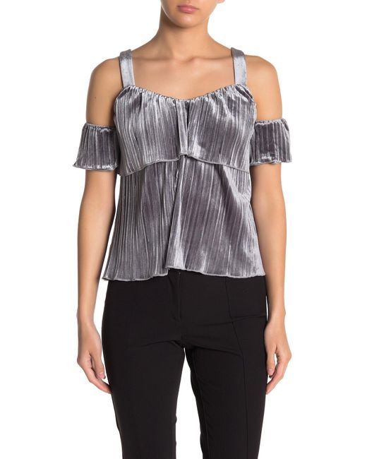 Endless Rose Gray Pleated Crushed Velvet Top