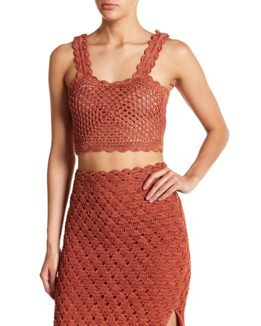 Tularosa - Red Angeli Crochet Knit Scalloped Tank Top - Lyst