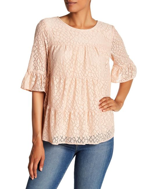 Pleione - Natural Tiered Stretch Lace Blouse - Lyst