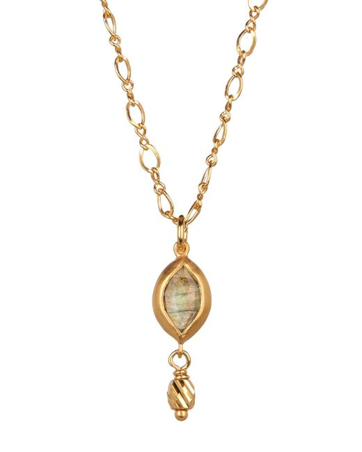 Chan Luu - Metallic 18k Gold Plated Sterling Silver Labradorite Marquis Pendant Necklace - Lyst