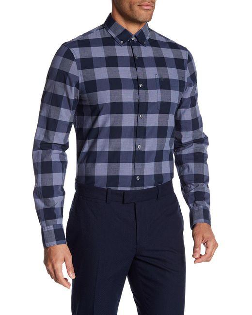 Original Penguin - Blue Long Sleeve P55 End On Plaid Heritage Slim Fit Shirt for Men - Lyst