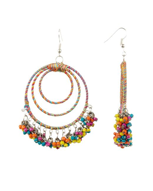Cara   Metallic Wrapped & Beaded Multi Hoop Earrings   Lyst