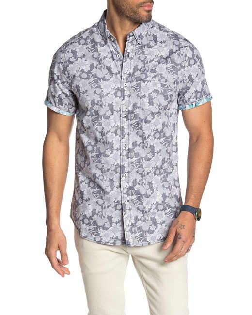Report Collection Blue Short Sleeve Tropical Floral Print Slim Fit Shirt for men