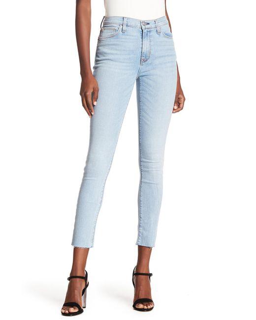 Hudson - Blue Barbara Raw Hem Super Skinny Jeans - Lyst