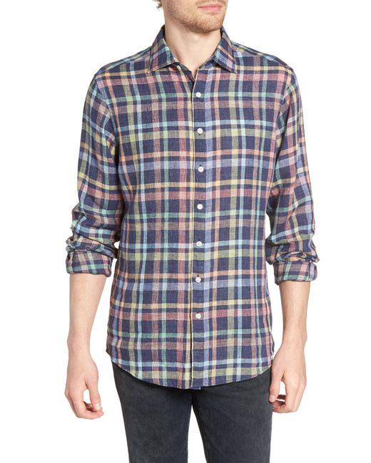 Rodd & Gunn Blue Stirling Plaid Linen Sport Shirt for men