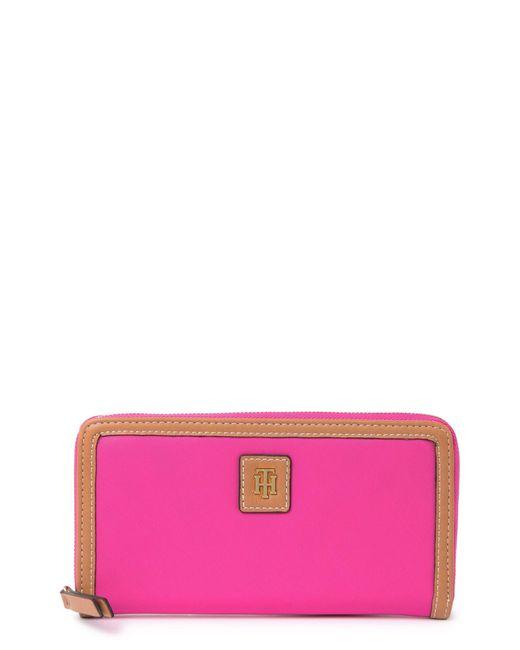 Tommy Hilfiger Pink Julia Fashion Zip Wallet In Hot Magenta At Nordstrom Rack