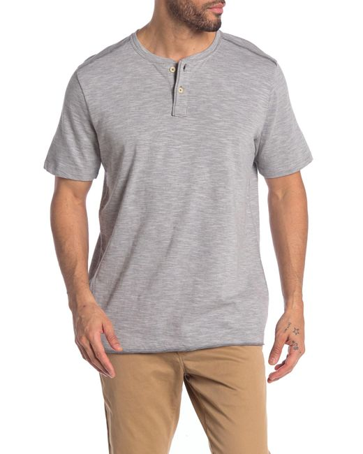 Tommy Bahama Gray Low Tide Short Sleeve Henley T-shirt for men