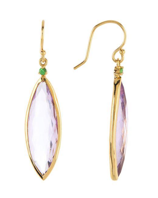 Ippolita Metallic 18k Gold Prisma Rose De France & Tsavorite Linear Earrings
