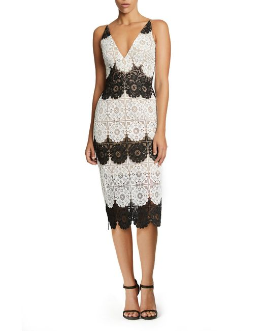 Dress the Population - Black Vera Crochet Stripe Sheath Dress - Lyst