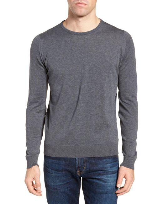 John Smedley - Gray Crewneck Sweater for Men - Lyst