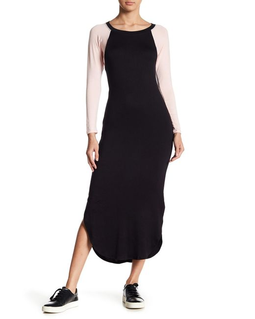 Caleigh & Clover | Black Geri Baseball Raglan Midi Dress | Lyst