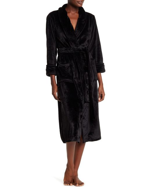 N Natori - Black Plush Fleece Shawl Collar Robe - Lyst