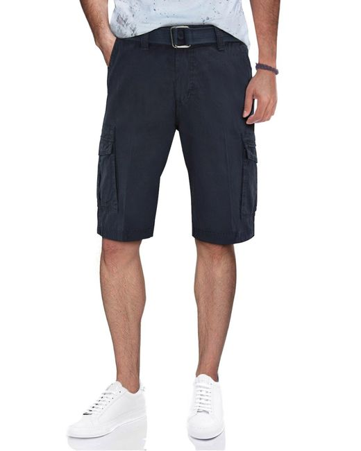Xray Jeans Blue Belted Snap Button Cargo Shorts for men