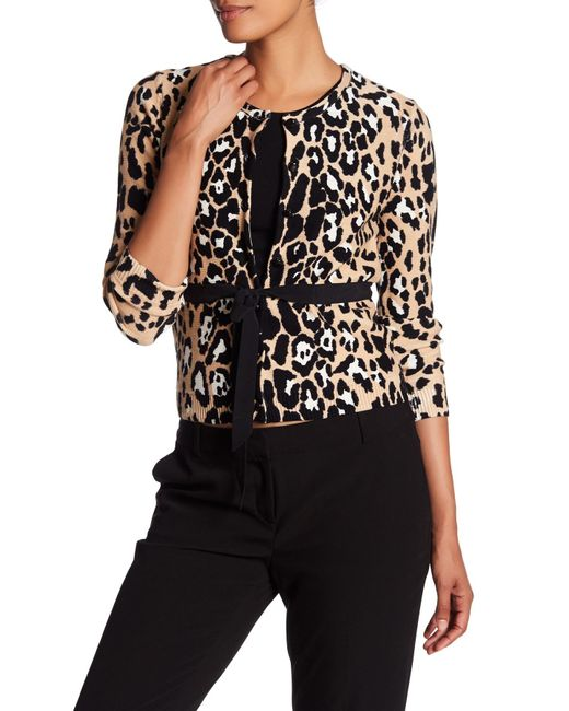Tracy Reese | Black Print Belted Cardigan | Lyst